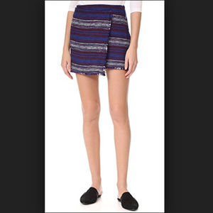 NWT Joie Genae Striped Tweed Fringe Wrap Skirt (8)